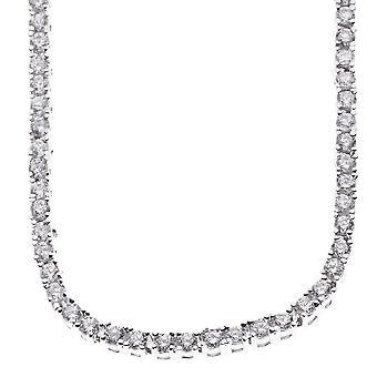 Iskallt ut bling zirconia rostfritt stål TENNIS halsband - 4mm silver