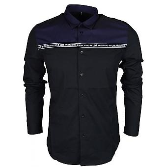 Moschino Mc7308cs2891 Slim Fit Stretch Black/navy Shirt