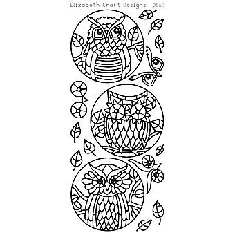Owl Circles Peel-Off Stickers-Black