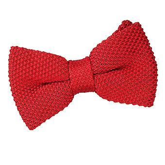 Crimson Red Knit gebreide vooraf gebonden vlinderdas