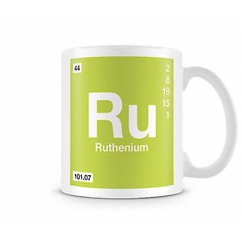 Element symbool 044 Ruthenium bedrukte mok