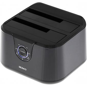 DELTACO USB 3.0 docking station with cloning, 2 x 2,5/3,5 SATA, black