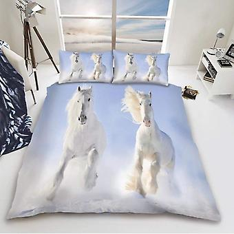 White Horse Duvet Cover Bedding Set