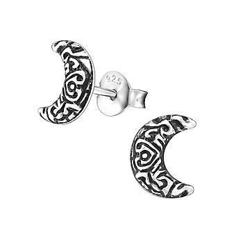 Crescent Moon - 925 Sterling Silver Plain Ear Studs - W31673x