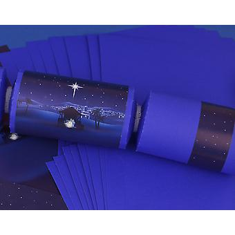 8 Purple Nativity Night Christmas Make & Fill Your Own Crackers Kit