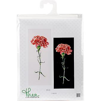 Carnations Red On Aida Counted Cross Stitch Kit-6.5