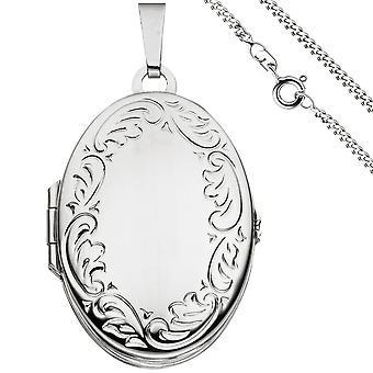 Ciondolo medaglione ovale per aprire per 4 foto 925 argento catena 60 cm