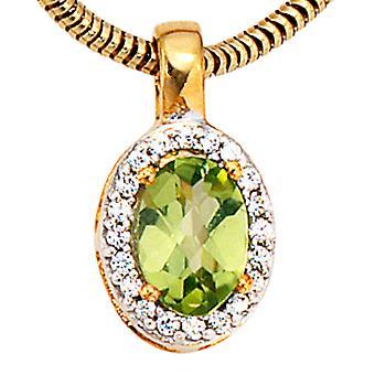 Przyczepa 585/g 0, 10ct. Oliwin diamenty wisiorek diament wisiorek z Peridot