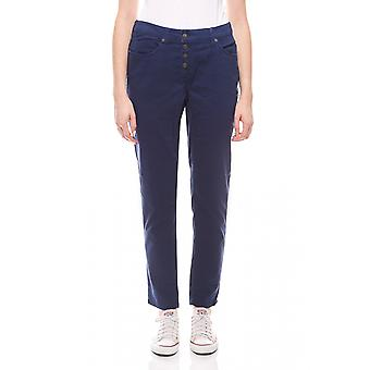 sheego women's stretch pants with button placket plus size blue