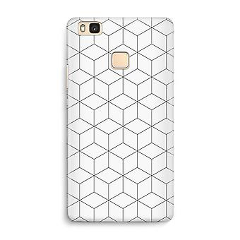 Huawei P9 Lite Full Print Case - Cubes black and white