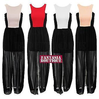 NEW WOMENS CHIFFON MAXI FISHTAIL CONTRAST RED BLACK NUDE PEACH LADIES DRESS