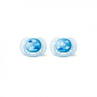 Avent Ultrasoft Pacifiers Blue from 0 to 6 Months 2 uds