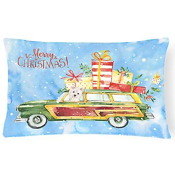 Merry Christmas Westie Canvas Fabric Decorative Pillow