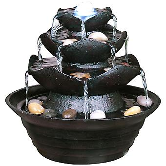 Tabletop Indoor Fountain - 4 Tier Cascade Waterfall With Light And Pebbles