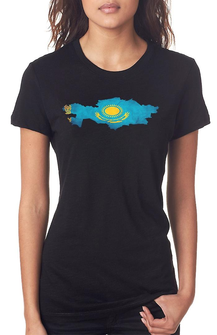 Kazakhstan Flag Map Ladies T Shirt