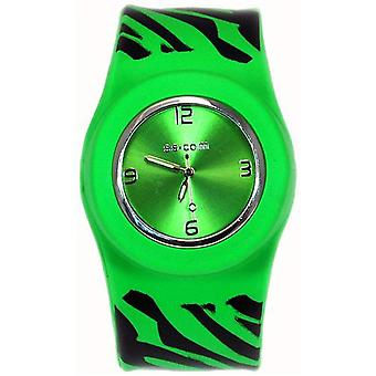 Funky Zebra Green Slap On Quartz Silicone Sports Watch