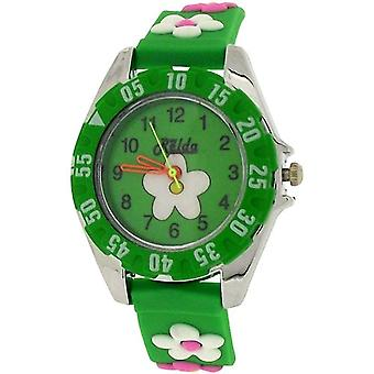 Relda Analogue Childrens Girl's 3D Flower Green Silicone Strap Watch REL83