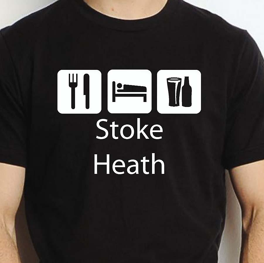 Eat Sleep Drink Stokeheath Black Hand Printed T shirt Stokeheath Town