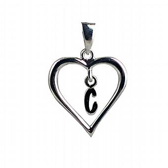 Silver heart Pendant with a hanging Initial C
