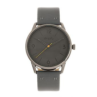 Simplify The 6300 Leather-Band Watch - Charcoal