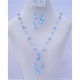 Aquamarine Swarovski Crystals Pearls Tassel Drop Necklace Set