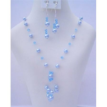 Aquamarine Swarovski Crystals Pearls Tassel Drop Necklace Set