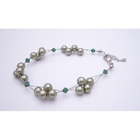 Are You Looking ForJewelry Green Mint Pearls Green Crystals Bracelet