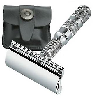 Merkur Travel Safety Razor  with Black Leather Pouch (933 000)