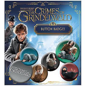 Fantastic Beasts 2 Button Set Nifflers 6-teilig, bedruckt, aus 100 % Blech, Blisterverpackung.