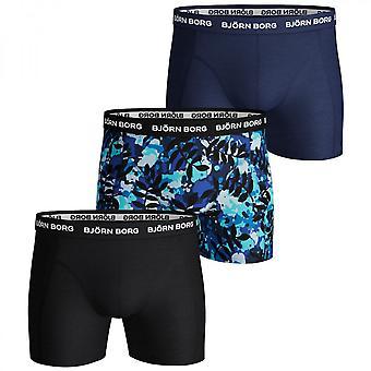 Bjorn Borg 3 Pack Essential Shorts, Black / Print / Blue, Large