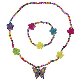 TOC Girls Purple Butterfly Multicolour Flower Bead Necklace & Bracelet Set