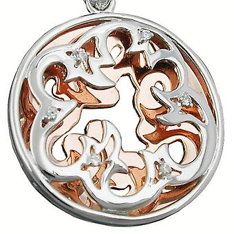 Floral silver red gold plated pendant bicolor cubic zirconia 925 Silver rhodium-plated