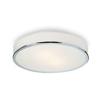 Firstlight - 2 Light Round Flush Bathroom Ceiling Light Chrome, Opal Glass IP44 - 5756CH