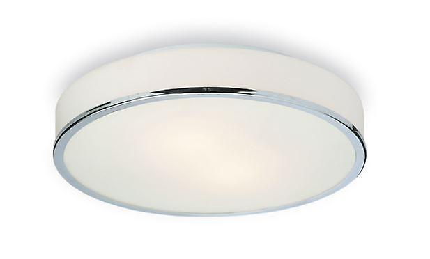 Firstlumière - 2 lumière Round Flush Bathroom Ceiling lumière Chrome, Opal Glass IP44 - 5756CH