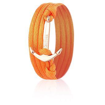 Skipper Anker-Armband Wickelarmband Nylon in Orange mit Silbernem Anker 8008