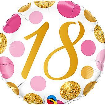 Qualatex 18 Pink & Gold Dots Round Foil Balloon