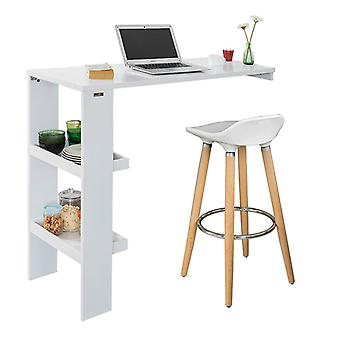 SoBuy Wall Kitchen Breakfast Dining Bar Table with Side Rack White FWT55-W