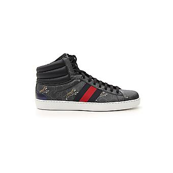 Gucci Black Leather Hi Top Sneakers