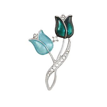 Eternal Collection Flora Aqua And Teal Crystal Silver Tone Flower Brooch