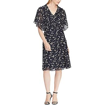Lauren Ralph Lauren Satin Striped Floral Print Dress