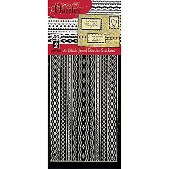 Dazzles Stickers 31 Black Jewel Border Daz 2437