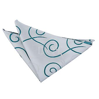 White & Teal Scroll Patterned Handkerchief / Pocket Square