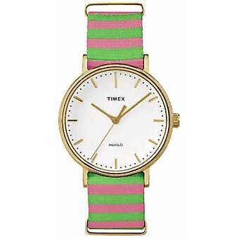 Timex Womans Weekender Fairfax Pink Green Strap TW2P91800 Watch