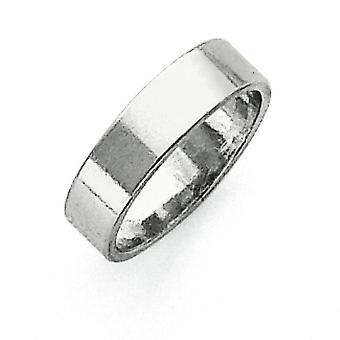 Sterling Silver Solid Polished Engravable Lightweight 5mm Flat Band Ring - Ring Size: 4 to 13.5