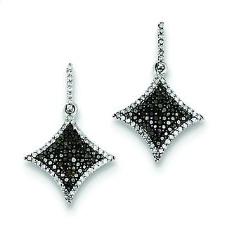 Sterling Silver Black and White Diamond Dangle Post Earrings - .64 dwt