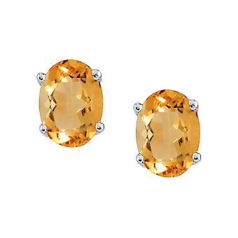 14k White Gold Large 6x8 mm Oval Citrine Studs