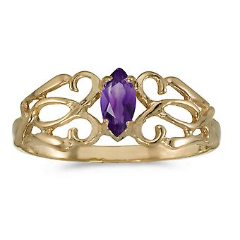 10k Yellow Gold Marquise Amethyst Filagree Ring