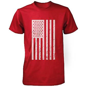 Distressed American Flag Independence Day Men's Shirt Red Tee for 4th of July