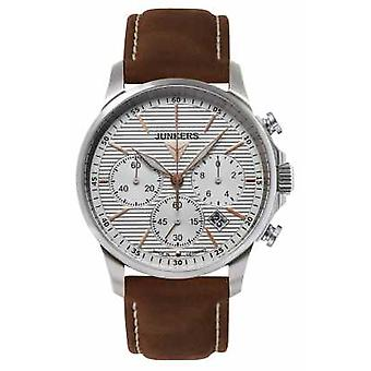 Junkers Mens Tante JU Chronograph brun läder rem Silver Dial 6878-4 Watch