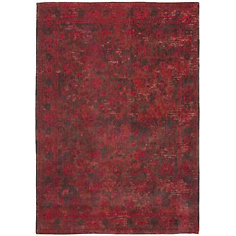Distressed Grey Red Medallion Flatweave Rug 170 x 240 - Louis de Poortere